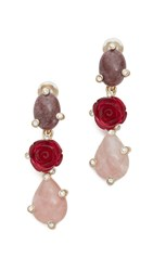 Oscar De La Renta Resin Rose Earrings Pink Multi