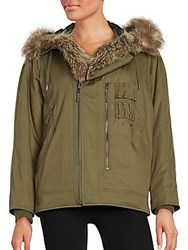 The Kooples Cotton And Fur Trimmed Parka Jacket Khaki