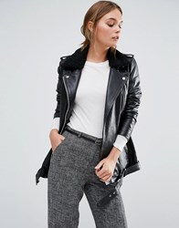 Y.A.S Lia Longline Leather Jacket With Black Faux Fur Collar Black