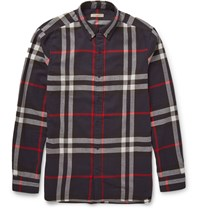 Burberry Slim Fit Checked Cotton Flannel Shirt Blue