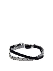 Title Of Work Mesh Chain And Leather Bracelet Silver