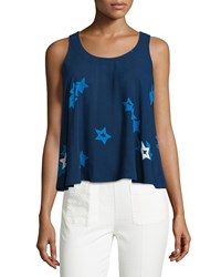 See By Chloe Round Neck Star Print Tank Blue Multi Blue Multi