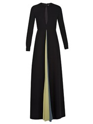 Valentino Contrasting Vent Cady Gown Black Multi