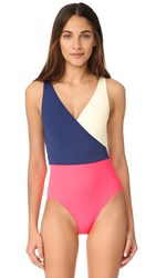 Solid And Striped The Ballerina One Piece Navy Cream Pink