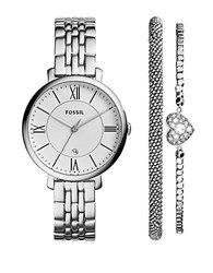 Fossil Jacqueline Stainless Steel Roman Numeral Watch And Bracelet Set Silver