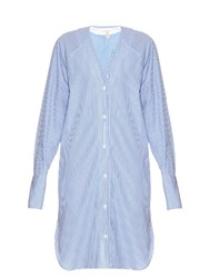 Rag And Bone Shults Pinstriped Shirtdress Blue White