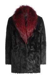 Diane Von Furstenberg Goat Fur Coat With Fox Fur Collar Black