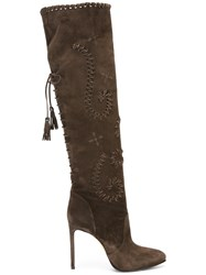 Le Silla Lace Up Stiletto Boots Brown