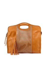 Cynthia Vincent Ally Perforated Leather Tote Bag Buff