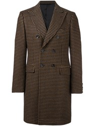 Tonello Double Breasted Houndstooth Coat Nude And Neutrals
