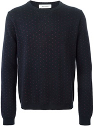 Mauro Grifoni Dotted Crew Neck Sweater Blue