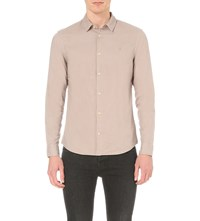 Allsaints Bixby Embroidered Cotton Shirt Sphinx Pink