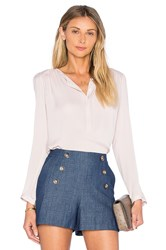 Rebecca Taylor Long Sleeve Double Georgette Top Pink