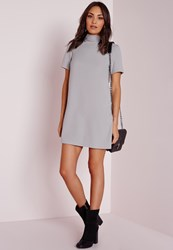 Missguided High Neck Short Sleeve Shift Dress Grey Grey