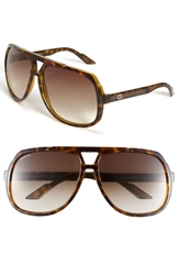Gucci Logo Temple 63Mm Aviator Sunglasses Havana