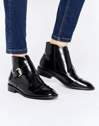 Office Anthem Buckle Strap Leather Ankle Boots Black Box Leather