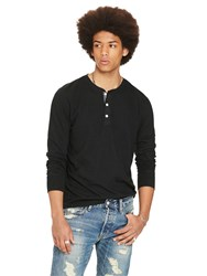 Denim And Supply Ralph Lauren Long Sleeve Knitted Henley Top Polo Black