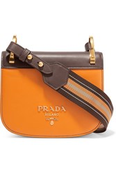 Prada Pionniere Canvas Trimmed Two Tone Leather Shoulder Bag Mustard