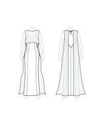 Customize Remove Slit Fame And Partners Full Skirt Overlay Cape Dress White