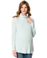 A Pea In The Pod Maternity Cashmere High Low Turtleneck Sweater Icy Blue