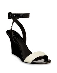 Brian Atwood B Kimi Snakeskin Leather Wedge Sandals Black White