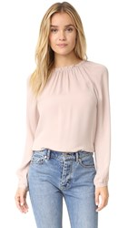 Rebecca Taylor Long Sleeve Georgette Ruffle Top Pink Champagne