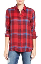 Lucky Brand Women's Plaid Shirt Red Multi