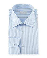 Stefano Ricci Striped Barrel Cuff Dress Shirt Blue