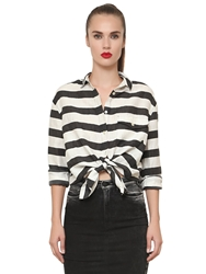 Cycle Striped Linen Blend Shirt White Black