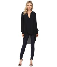 Catherine Malandrino Long Sleeve V Neck Hi Lo Tunic Blackbird Women's Blouse