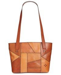 Patricia Nash Patchwork Nevoso Double Zip Tote Patchwork Tan