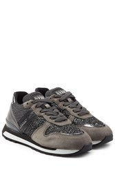 Hogan Rebel Platform Sneakers With Suede Leather And Glitter Grey
