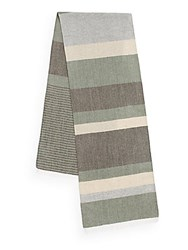 Hickey Freeman Multistriped Wool Blend Scarf Olive