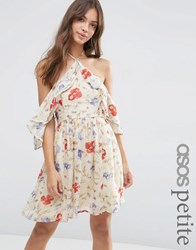 Asos Petite Cold Shoulder Mini Dress With Ruffle Sleeve In Vintage Floral Print Multi