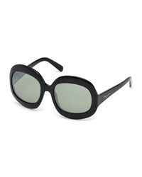 Dsquared2 Oversized Rectangle Plastic Sunglasses Shiny Black Smoke Mirror