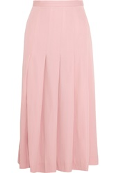 Mother Of Pearl Dune Pleated Stretch Wool Blend Midi Skirt
