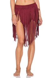 Ale By Alessandra Holy Cow Fringe Convertible Skirt Burgundy