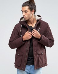Esprit Parka With Borg Lined Hood Bordeaux Red Black