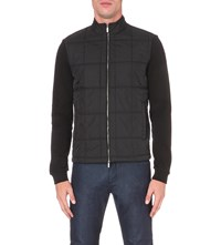 Hugo Boss Quilted Shell And Cotton Jersey Jacket Black