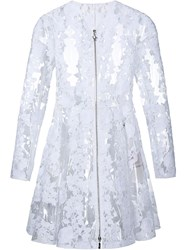 Moncler Clear Pu Floral Lace Coat White