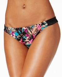 Hula Honey Tropical Splash Printed Strappy Hipster Bottoms Women's Swimsuit Black Multi