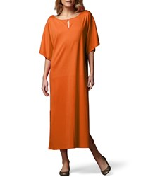 Joan Vass Keyhole Front Long Dolman Dress Petite Azalea