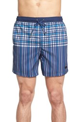 Men's Boss 'Cardinalfish' Plaid Swim Trunks Open Blue