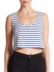 Csbla Rimini Striped Cropped Tank Top Navy White
