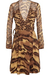 Diane Von Furstenberg Kara Leopard Print Silk Jersey And Chiffon Wrap Mini Dress