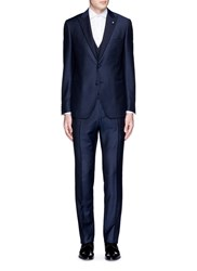 Lardini 'Trendy' Peak Lapel Wool Mohair Silk Three Piece Tuxedo Suit Blue