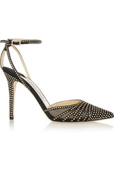 Jimmy Choo Kizzy Mesh Paneled Studded Suede Pumps