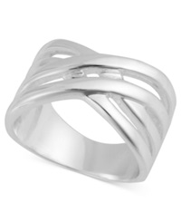 Touch Of Silver Silver Plated Brass Ring Crisscross Ring