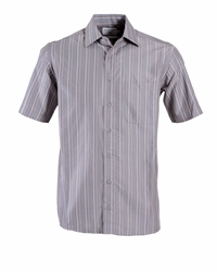 Double Two Stripe Classic Fit Classic Collar Shirt Brown