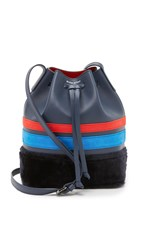 Mother Of Pearl Small Bucket Bag Navy Stripe